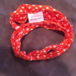 Thirty one orange and white polka dot purse scarf